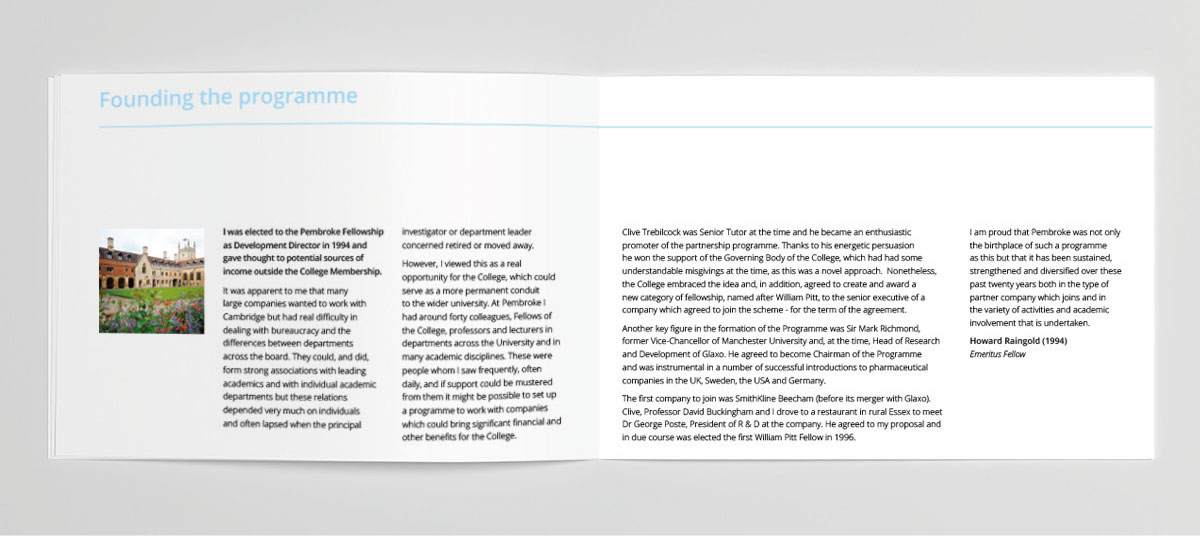 Inside brochure spread text layout