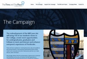 Website design for Pembroke college
