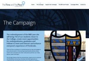 Website design for Pembroke college