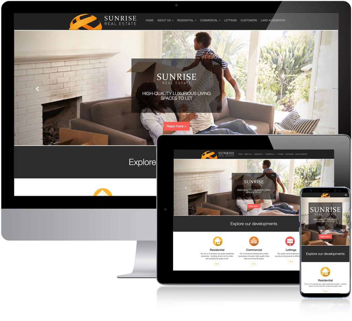 Website design for Sunrise Real Estate