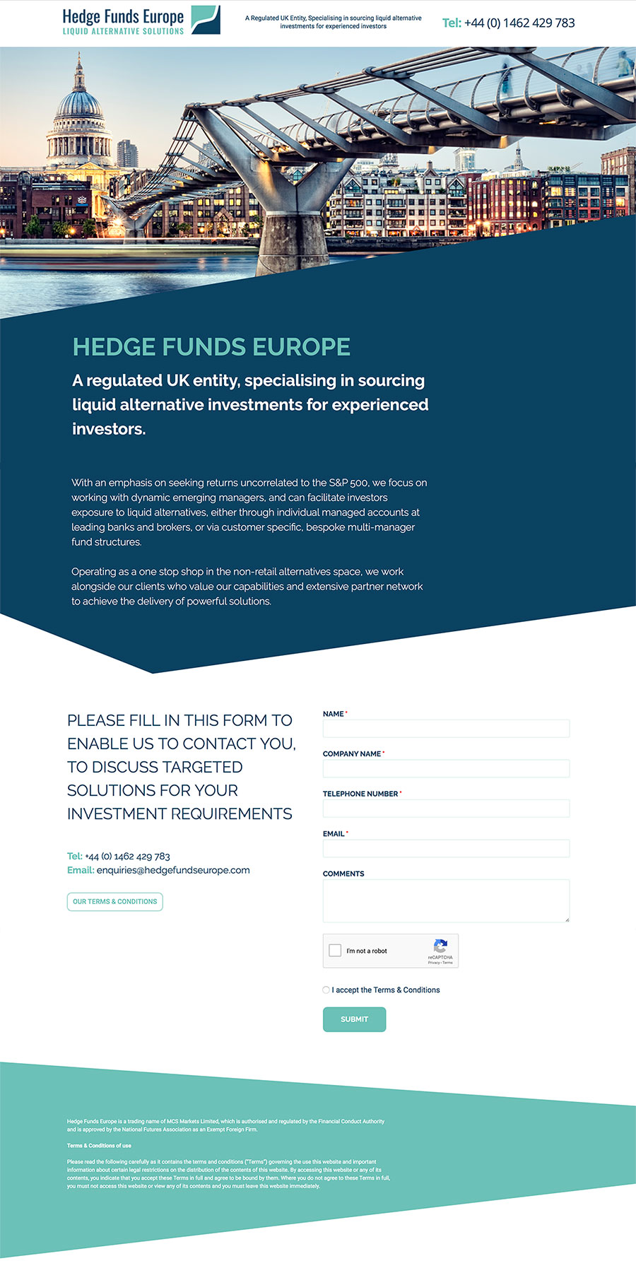 Hedge Funds Europe Website design layout